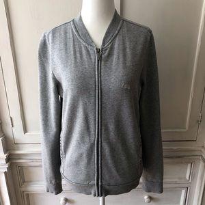 Burberry Front Zip Sweatshirt with Check Pattern.
